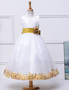 A-Line Ankle Length Flower Girl Dress - Satin Net Sleeveless Jewel Neck with Satinm by Bflower