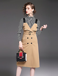 Women's Daily Work Casual Fall T-shirt Skirt Suits,Striped Turtleneck Long Sleeve Cotton Polyester