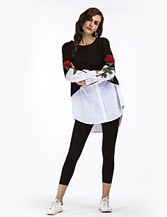 Women's Holiday Casual/Daily Vintage Street chic Winter Fall Shirt,Embroidery Round Neck Long Sleeves Polyester