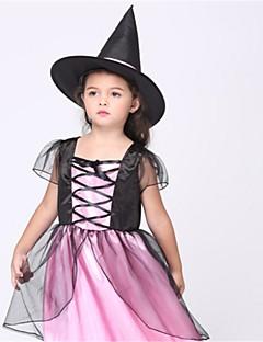 billige Barnekostymer-Trollmann/heks Cosplay Kostumer Barne Halloween Festival / høytid Halloween-kostymer Rosa Mote