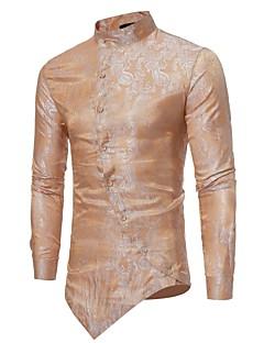 billige Herremote og klær-Tynn Opprett krage Skjorte Herre - Blomstret