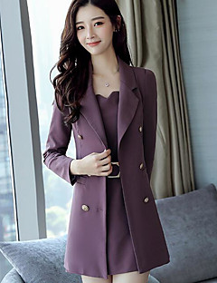 Women's Work Simple Fall Suit,Solid Shirt Collar Long Sleeve Long Polyester