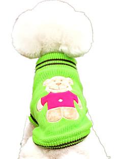 billiga Hundkläder-Hund Tröjor Hundkläder Tecknat Gul / Röd / Grön Ull Kostym För husdjur Ledigt / vardag