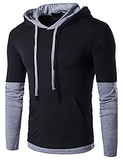 Herren Einfarbig Einfach Aktiv Ausgehen Lässig/Alltäglich T-shirt,Mit Kapuze Frühling Herbst Langarm Baumwolle Mittel