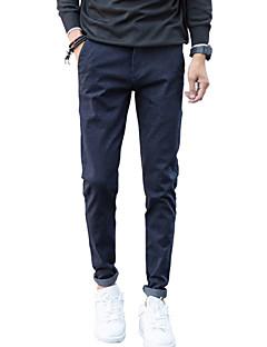Pánské Jednoduchý Mikro elastické Upnuté Kalhoty chinos Kalhoty Štíhlý Mid Rise Jednobarevné