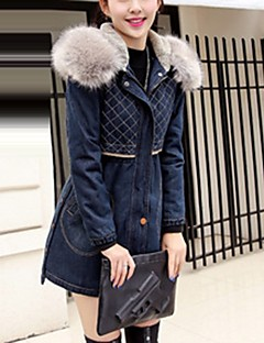 Women's Casual/Daily Simple Street chic Fall Winter Denim Jacket,Solid Peter Pan Collar Long Sleeve Regular Polyester