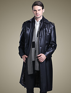 Men's Daily Chinoiserie Winter Trench Coat,Solid Stand Long Sleeve Long Lambskin