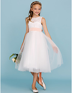 cheap Communion Dresses-A-Line Princess Tea Length Flower Girl Dress - Lace Tulle Sleeveless Crew Neck with Sash / Ribbon Pleats by LAN TING BRIDE®