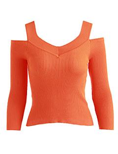 baratos Suéteres de Mulher-Mulheres Simples Manga Longa Pulôver - Sólido / Ombro a Ombro / Ombro a Ombro / Outono
