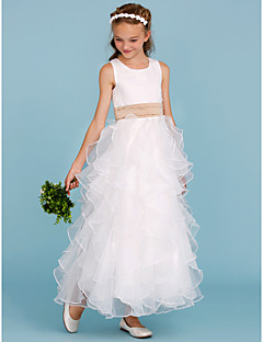 A-Line Princess Jewel Neck Ankle Length Organza Satin Junior Bridesmaid Dress with Sash / Ribbon Cascading Ruffles by LAN TING BRIDE®