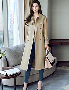Women's Casual/Daily Simple Fall Trench Coat,Solid Shirt Collar Long Sleeve Long Polyester