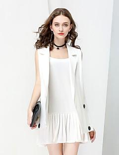 Damen Solide Street Schick Anspruchsvoll Ausgehen Arbeit Anzug,V-Ausschnitt Herbst Winter Ärmellos Standard Baumwolle Leinen Gefaltet