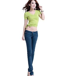 レディース セクシー ストリートファッション パンク&ゴシック ミッドライズ タイト マイクロエラスティック スリム ジーンズ パンツ ソリッド