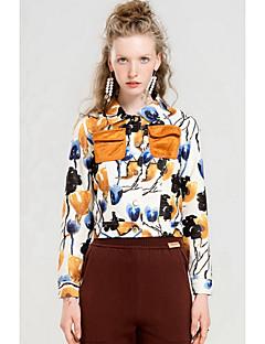 Damen Druck Einfach Ausgehen Jacke,Hemdkragen Herbst Lange Ärmel Standard Polyester