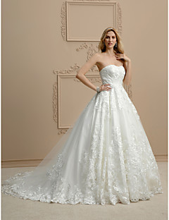 cheap Wedding Dresses-Ball Gown Strapless Chapel Train Lace Custom Wedding Dresses with Appliques by LAN TING BRIDE®
