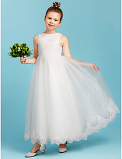 cheap Junior Bridesmaid Dresses-A-Line Princess Crew Neck Ankle Length Lace Tulle Junior Bridesmaid Dress with Bow(s) by LAN TING BRIDE®