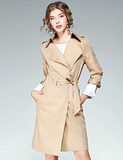 EWUS Women's Going out Casual/Daily Street chic Fall CoatSolid Notch Lapel Long Sleeve Long Polyester