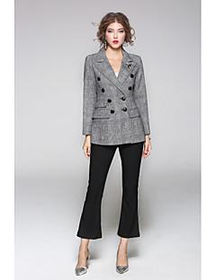 Damen Solide Geometrisch Street Schick Ausgehen Lässig/Alltäglich Blazer,Hemdkragen Frühling Herbst Lange Ärmel Standard Wolle