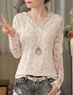 Damen Solide Einfach Ausgehen Lässig/Alltäglich Bluse,V-Ausschnitt Herbst Winter Langarm Polyester Mittel