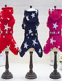 billiga Hundkläder-Hund Jumpsuits Hundkläder Stjärnor Fuchsia / Röd / Blå Cotton Kostym För husdjur Ledigt / vardag / Håller värmen