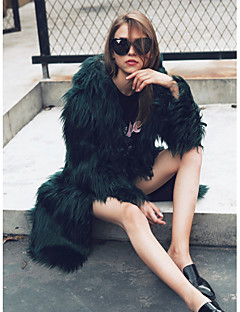 Women's Daily Work Simple Casual Active Street chic Winter Fall Fur Coat,Solid Hooded Long Sleeve Long Faux Fur