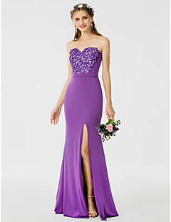 cheap Purple Passion-Sheath / Column Sweetheart Floor Length Floral Lace Jersey Bridesmaid Dress with Appliques Sash / Ribbon Split Front by LAN TING BRIDE®