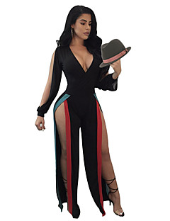 Women's Club Sexy Color Block Patchwork Deep V Jumpsuits,Wide Leg Long Sleeve Spring Summer Polyester Spandex