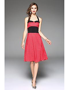 billige Vintage-dronning-Dame Strand A-linje Skede Swing Kjole - Ensfarvet Prikker Blomstret Grime Højtaljede