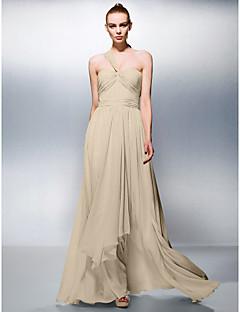 billiga Aftonklänningar-A-linje Enaxlad Golvlång Chiffong Bal / Formell kväll Klänning med Draperad / Veckad av TS Couture®