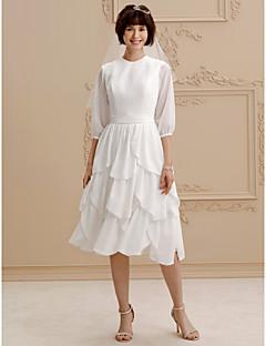 Prenses Taşlı Yaka Diz Boyu Şifon Kuşaklar / Kurdeleler Fırfırlı ile Düğün elbisesi tarafından LAN TING BRIDE®