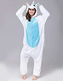 Kigurumi Pyjamas Unicorn Heldragtskostumer Pyjamas Kostume Flannelstof Lyserød Gul Blå Lilla Rose Cosplay Til Voksne Nattøj Med Dyr