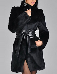 Women's Plus Size Casual/Daily Simple Street chic Winter Fur Coat,Solid Stand Long Sleeve Long Polyester Fur Trim