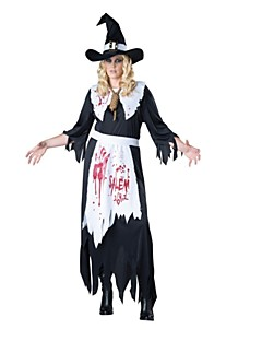 billige Halloweenkostymer-Bloody Mary Cosplay Kostumer Halloween De dødes dag Festival / høytid Halloween-kostymer Svart Mote