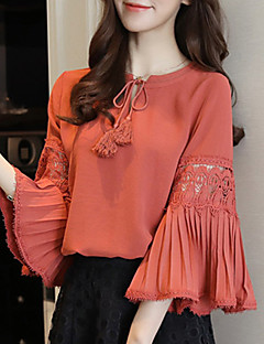 Women's Going out Casual/Daily Simple Fall Winter Blouse,Solid Round Neck Long Sleeves Polyester Medium