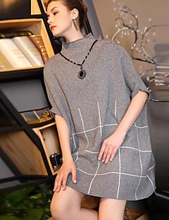 Naiset Löysä Mekko Bile Rento/arki,Color Block Pyöreä kaula-aukko Reisipituinen Puolihiha Polyesteri Nylon Muu Syksy Talvi Keski vyötärö
