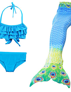 billige Halloweenkostymer-The Little Mermaid Badetøy / Bikini Jente Halloween / Karneval Festival / høytid Halloween-kostymer Gul+Blå / Svart / Oransje / Rød+Blå Vintage