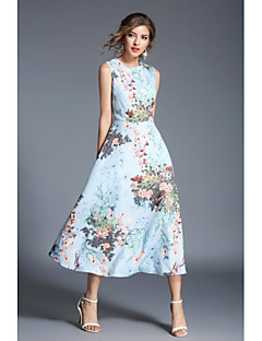 Damen Hülle Spitze Kleid-Lässig/Alltäglich Blumen Rundhalsausschnitt Maxi Knielang Ärmellos Polyester Frühling Herbst Hohe Hüfthöhe