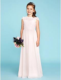A-Linie Princess Tričkový Na zem Šifón Krajka Šaty pro malou družičku s Knoflíky Sklady podle LAN TING BRIDE®