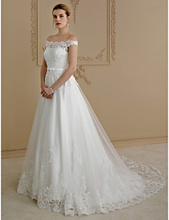 cheap Wedding Dresses-A-Line Princess Off Shoulder Court Train Lace Tulle Custom Wedding Dresses with Bow(s) Buttons Sashes / Ribbons by LAN TING BRIDE®