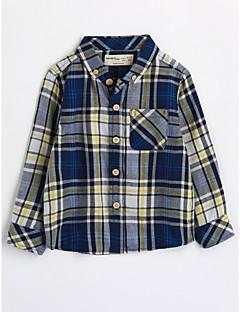 お買い得  男児 トップス-男の子 千鳥格子 コットン シャツ 秋 長袖 ブルー