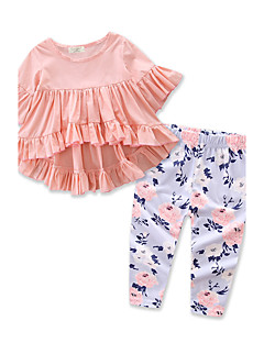 Girls' Solid Floral Print Sets,Cotton Polyester Spring Fall Long Pant Clothing Set