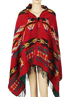 女性 春 秋 ウール アクリル ジャカード織 長方形 ブラウン ルビーレッド ネイビーブルー パープル イエロー