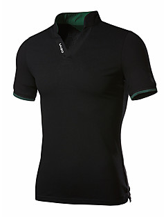 Men's Casual/Daily Simple Summer Polo,Solid V Neck Short Sleeves Cotton