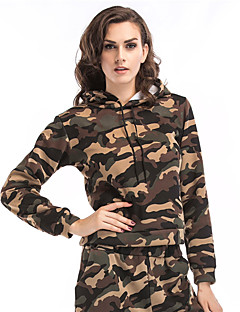 Women's Daily Holiday Hoodie Camouflage Hooded Inelastic Polyester Long Sleeve Winter Fall
