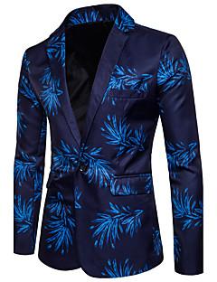 Herren Geometrisch Einfach Klub Blazer,V-Ausschnitt Frühling Sommer Lange Ärmel Standard Baumwolle