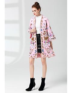Feminino Casaco Para Noite Moda de Rua Outono,Estampado Longo Lã Decote Redondo Manga Longa