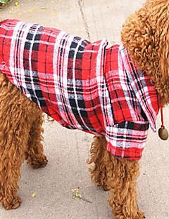 billiga Hundkläder-Hund T-shirt Hundkläder Pläd/Rutig Röd Grön Blå Bomull/Linneblandning Kostym För husdjur Ledigt/vardag