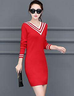 Kadın Günlük/Sade Sokak Şıklığı Bandaj Örgü İşi Elbise Zıt Renkli,Uzun Kollu V Yaka Mini Pamuklu Splandeks Sonbahar Normal Bel Streç Orta