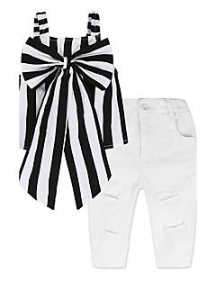 billige Tøjsæt til piger-Pige Tøjsæt Stribe, Bomuld Forår Sommer Uden ærmer Stribet Rosette Sort