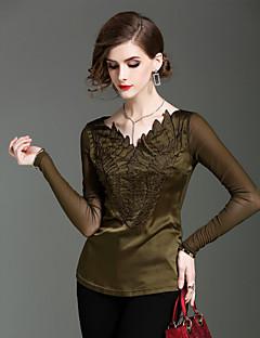 Damen Solide Einfach Ausgehen Lässig/Alltäglich T-shirt,V-Ausschnitt Herbst Winter Langarm Polyester Elasthan Dünn